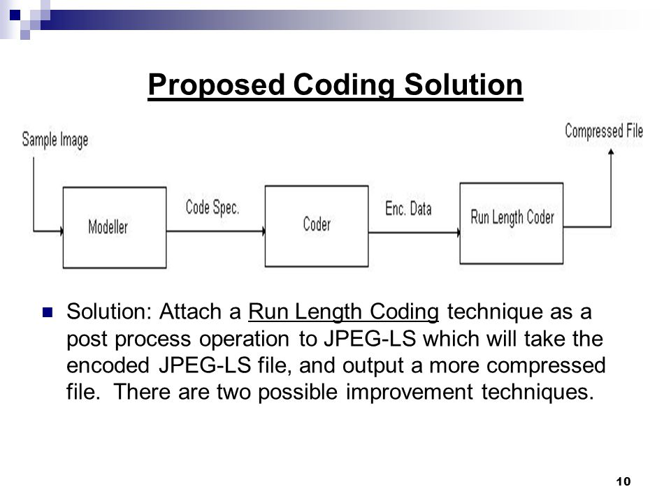 10 Proposed Coding Solution Solution: Attach a Run Length Coding technique as a post process operation to JPEG-LS which will take the encoded JPEG-LS file, and output a more compressed file.