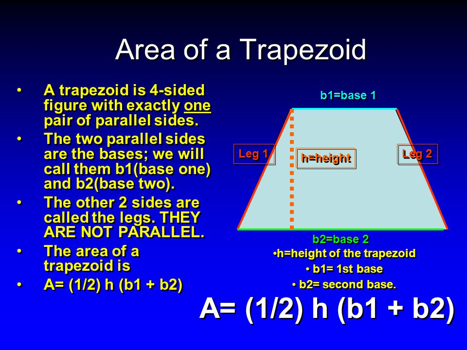Area of a Trapezoid A trapezoid is 4-sided figure with exactly one pair of parallel sides.