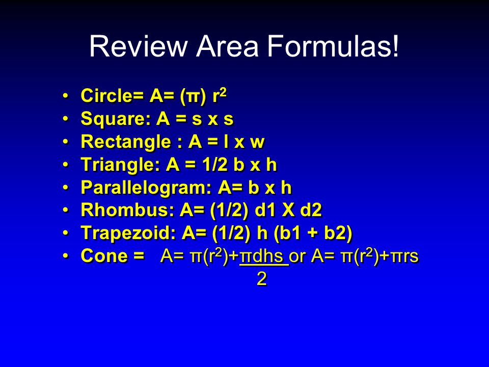 Review Area Formulas.