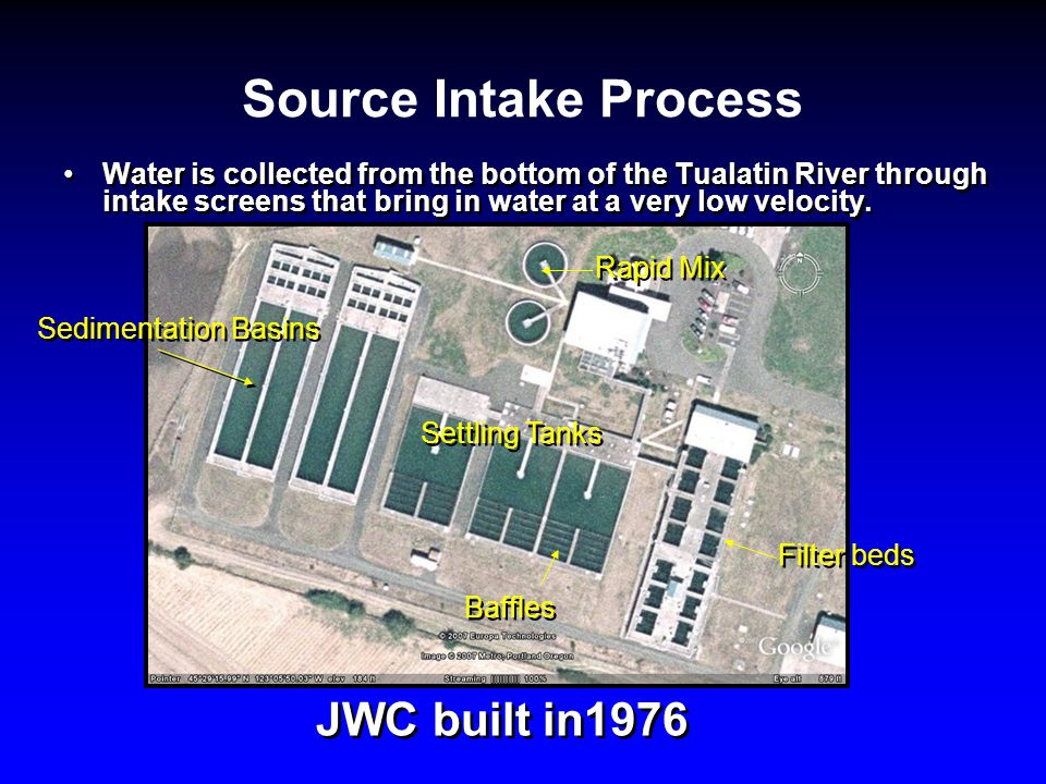 Source Intake Process Water is collected from the bottom of the Tualatin River through intake screens that bring in water at a very low velocity.