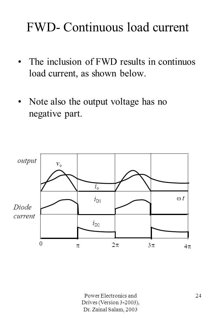 Power Electronics and Drives (Version 3-2003), Dr. Zainal Salam, 2003 24 The inclusion of FWD results in continuos load current, as shown below. Note