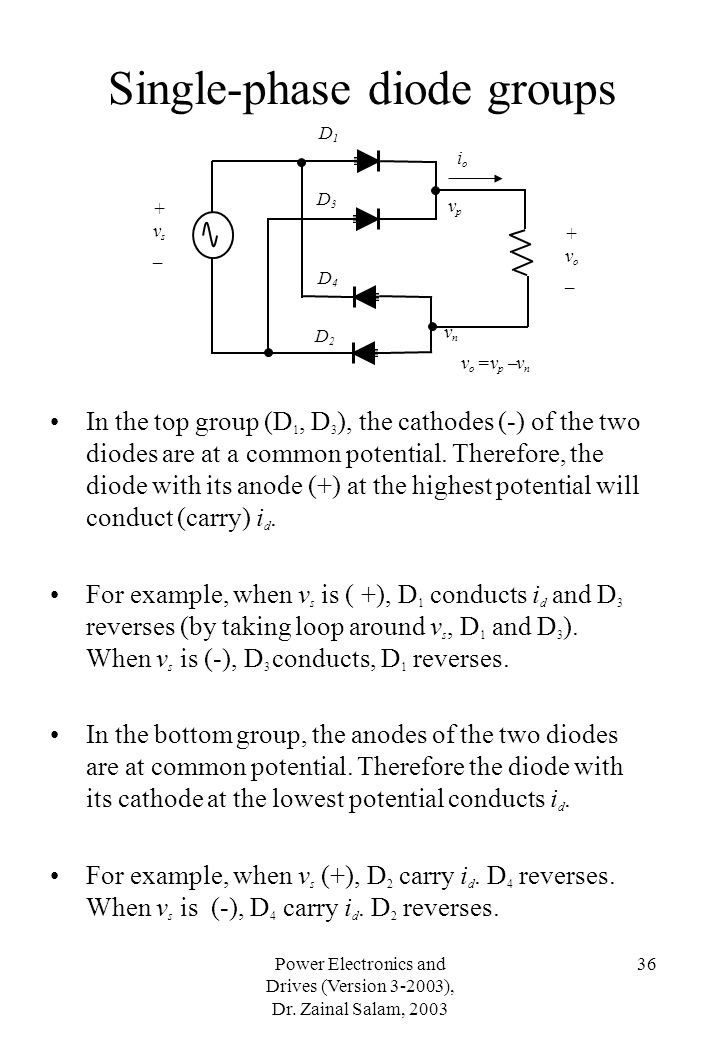 Power Electronics and Drives (Version 3-2003), Dr. Zainal Salam, 2003 36 Single-phase diode groups In the top group (D 1, D 3 ), the cathodes (-) of t