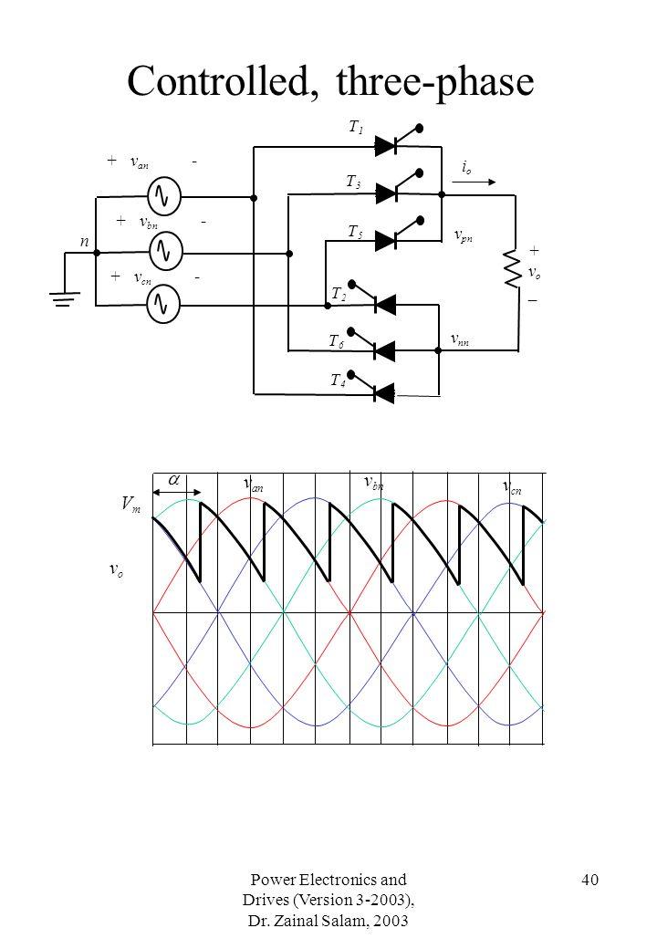 Power Electronics and Drives (Version 3-2003), Dr. Zainal Salam, 2003 40 Controlled, three-phase VmVm v an v bn v cn T1T1 +vo_+vo_ v pn v nn ioio T3T3