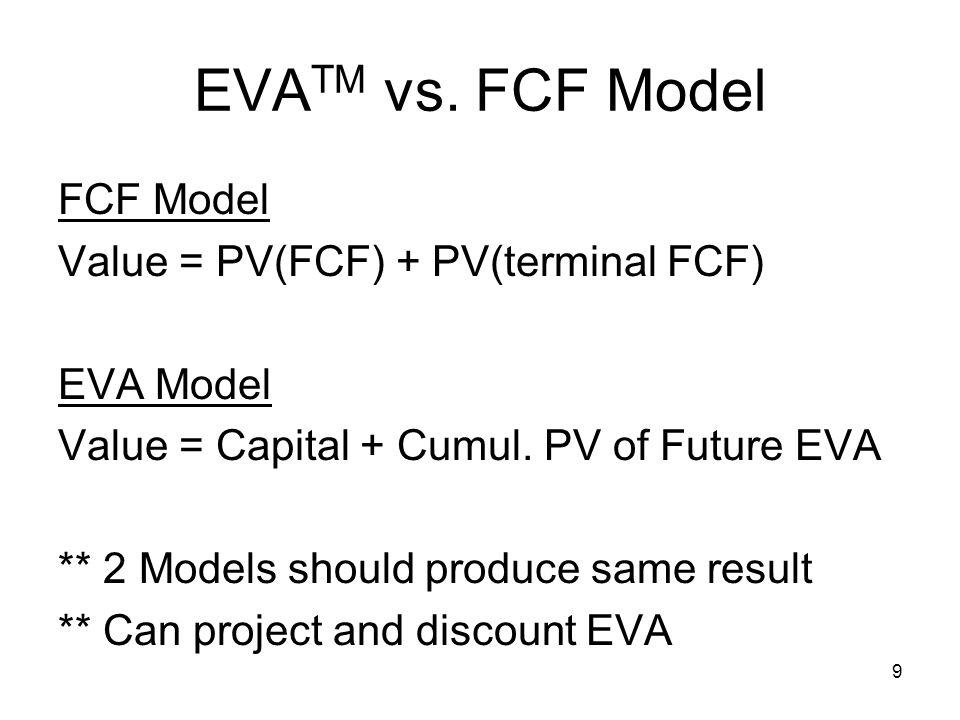 9 EVA TM vs. FCF Model FCF Model Value = PV(FCF) + PV(terminal FCF) EVA Model Value = Capital + Cumul. PV of Future EVA ** 2 Models should produce sam