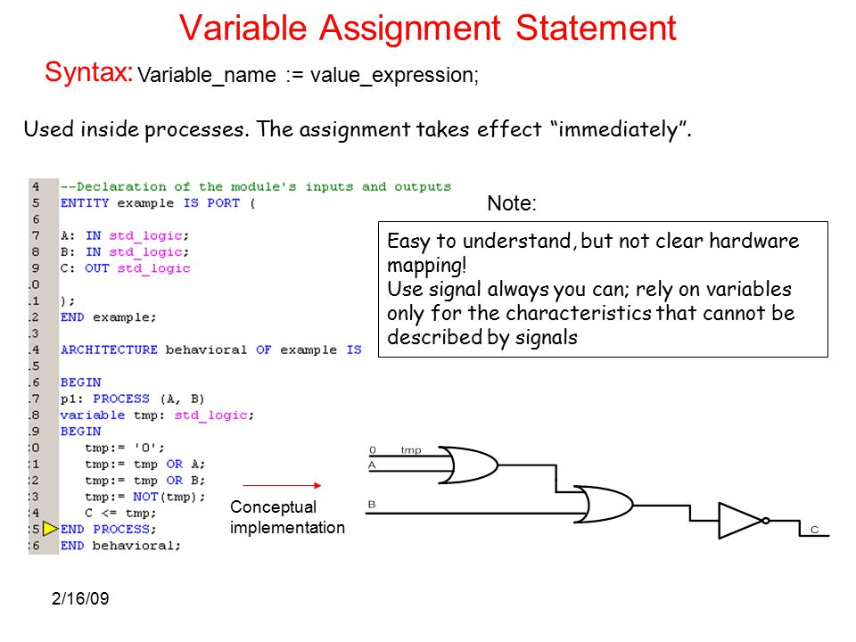 2/16/09 Variable Assignment Statement Variable_name := value_expression; Syntax: Used inside processes.
