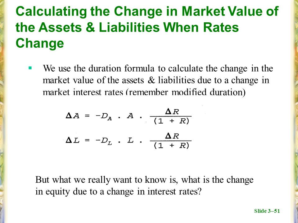 Slide 3–51 Calculating the Change in Market Value of the Assets & Liabilities When Rates Change  We use the duration formula to calculate the change in the market value of the assets & liabilities due to a change in market interest rates (remember modified duration) But what we really want to know is, what is the change in equity due to a change in interest rates