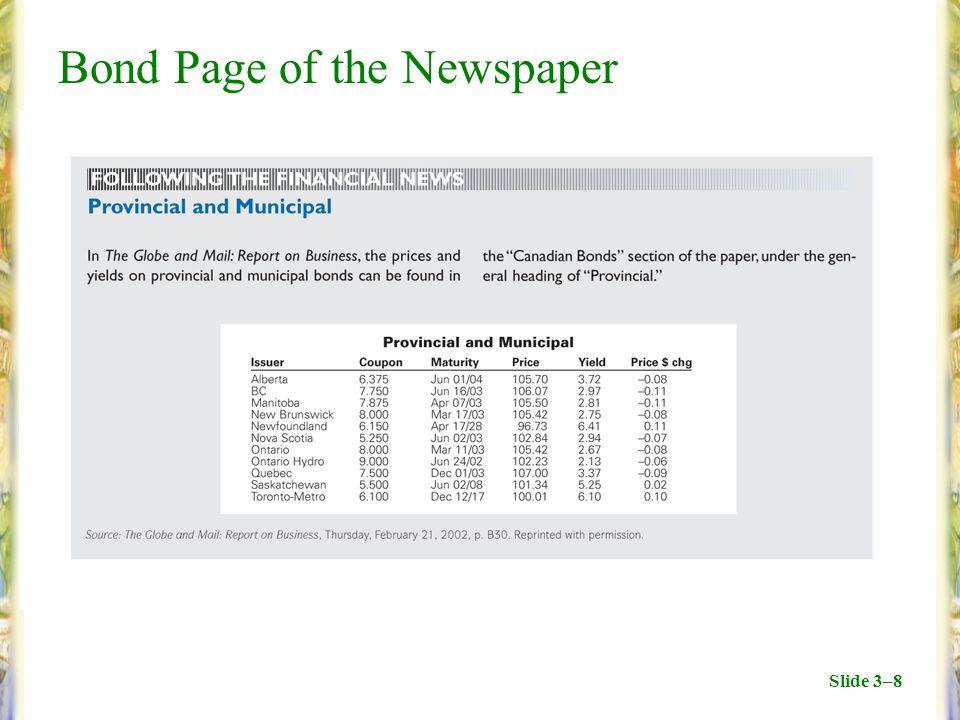 Slide 3–8 Bond Page of the Newspaper