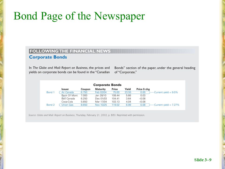 Slide 3–9 Bond Page of the Newspaper