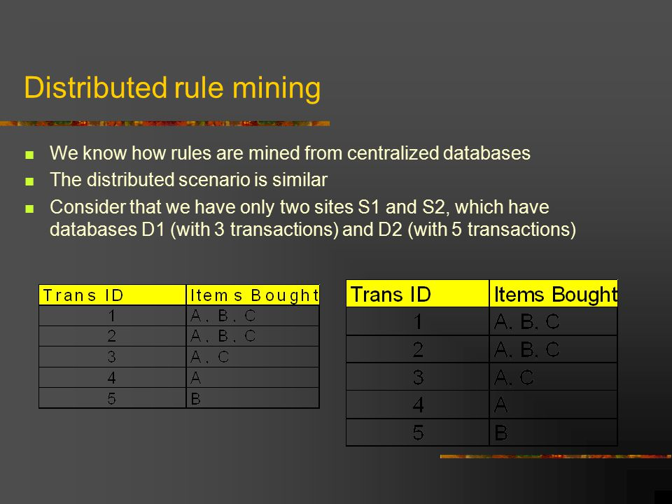 Distributed rule mining We know how rules are mined from centralized databases The distributed scenario is similar Consider that we have only two sites S1 and S2, which have databases D1 (with 3 transactions) and D2 (with 5 transactions)
