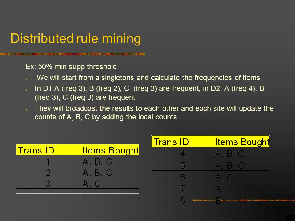 Distributed rule mining Ex: 50% min supp threshold ● We will start from a singletons and calculate the frequencies of items ● In D1 A (freq 3), B (freq 2), C (freq 3) are frequent, in D2 A (freq 4), B (freq 3), C (freq 3) are frequent ● They will broadcast the results to each other and each site will update the counts of A, B, C by adding the local counts