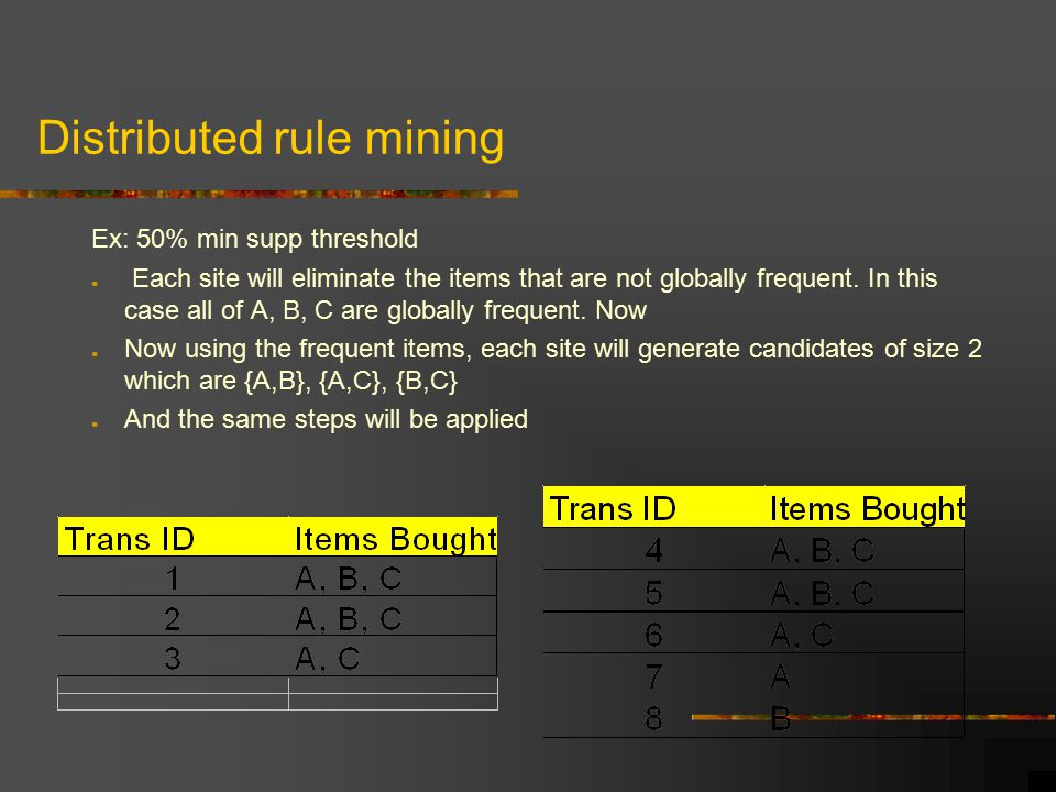 Distributed rule mining Ex: 50% min supp threshold ● Each site will eliminate the items that are not globally frequent.