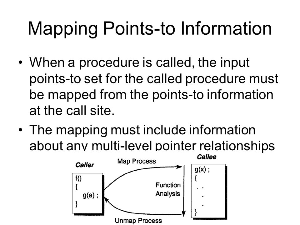 Mapping Points-to Information When a procedure is called, the input points-to set for the called procedure must be mapped from the points-to informati