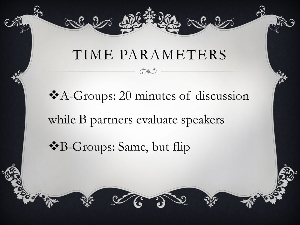 TIME PARAMETERS  A-Groups: 20 minutes of discussion while B partners evaluate speakers  B-Groups: Same, but flip