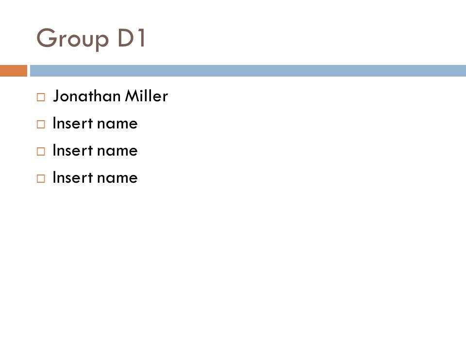 Group D1  Jonathan Miller  Insert name