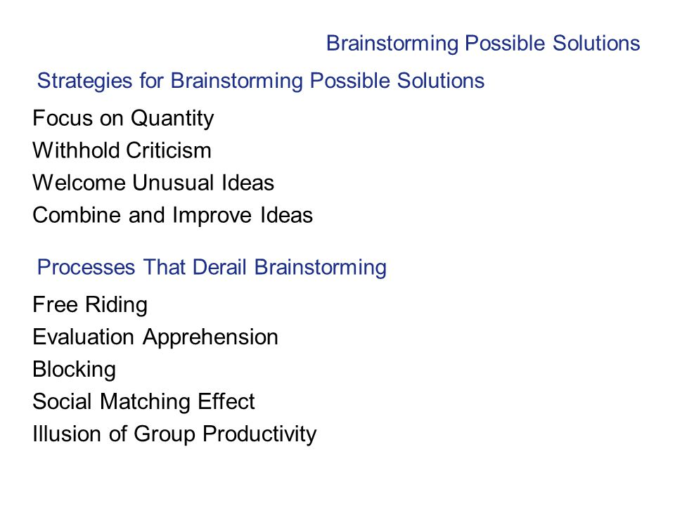 Strategies for Brainstorming Possible Solutions Focus on Quantity Withhold Criticism Welcome Unusual Ideas Combine and Improve Ideas Brainstorming Pos