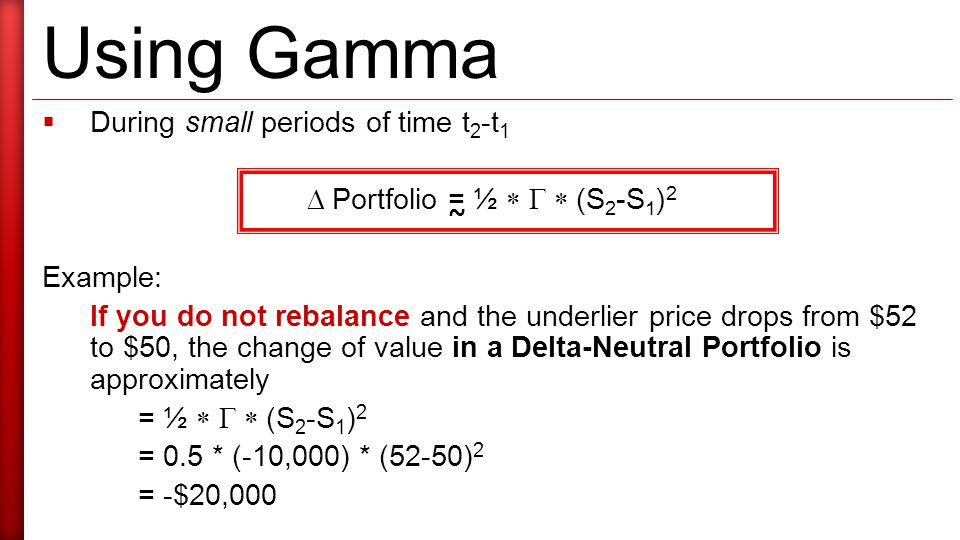 Using Gamma  During small periods of time t 2 -t 1  Portfolio = ½   (S 2 -S 1 ) 2 Example: If you do not rebalance and the underlier price drops from $52 to $50, the change of value in a Delta-Neutral Portfolio is approximately = ½   (S 2 -S 1 ) 2 = 0.5 * (-10,000) * (52-50) 2 = -$20,000 ~