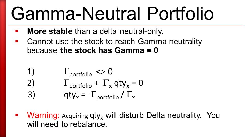 Gamma-Neutral Portfolio  More stable than a delta neutral-only.