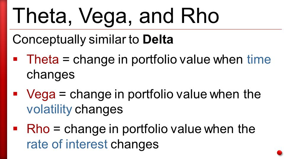 Theta, Vega, and Rho Conceptually similar to Delta  Theta = change in portfolio value when time changes  Vega = change in portfolio value when the volatility changes  Rho = change in portfolio value when the rate of interest changes