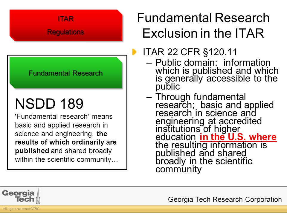 All rights reserved GTRC Georgia Tech Research Corporation Fundamental Research Exclusion in the ITAR ITAR 22 CFR §120.11 –Public domain: information which is published and which is generally accessible to the public –Through fundamental research; basic and applied research in science and engineering at accredited institutions of higher education in the U.S.