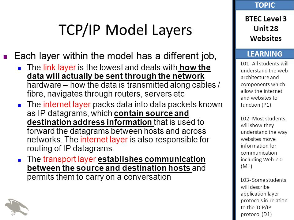 TOPIC LEARNING BTEC Level 3 Unit 28 Websites L01- All students will understand the web architecture and components which allow the internet and websites to function (P1) L02- Most students will show they understand the way websites move information for communication including Web 2.0 (M1) L03- Some students will describe application layer protocols in relation to the TCP/IP protocol (D1) TCP/IP Model Layers Each layer within the model has a different job, The link layer is the lowest and deals with how the data will actually be sent through the network hardware – how the data is transmitted along cables / fibre, navigates through routers, servers etc The internet layer packs data into data packets known as IP datagrams, which contain source and destination address information that is used to forward the datagrams between hosts and across networks.