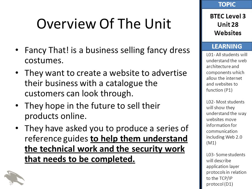 TOPIC LEARNING BTEC Level 3 Unit 28 Websites L01- All students will understand the web architecture and components which allow the internet and websites to function (P1) L02- Most students will show they understand the way websites move information for communication including Web 2.0 (M1) L03- Some students will describe application layer protocols in relation to the TCP/IP protocol (D1) Summary Of P1, M1 and D1 For P1, learners should compose a brief outline of the web architecture and components which allow the internet and websites to function.