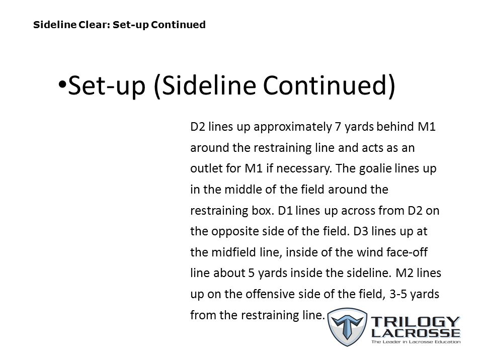 Sideline Clear: Set-up Continued D2 lines up approximately 7 yards behind M1 around the restraining line and acts as an outlet for M1 if necessary. Th