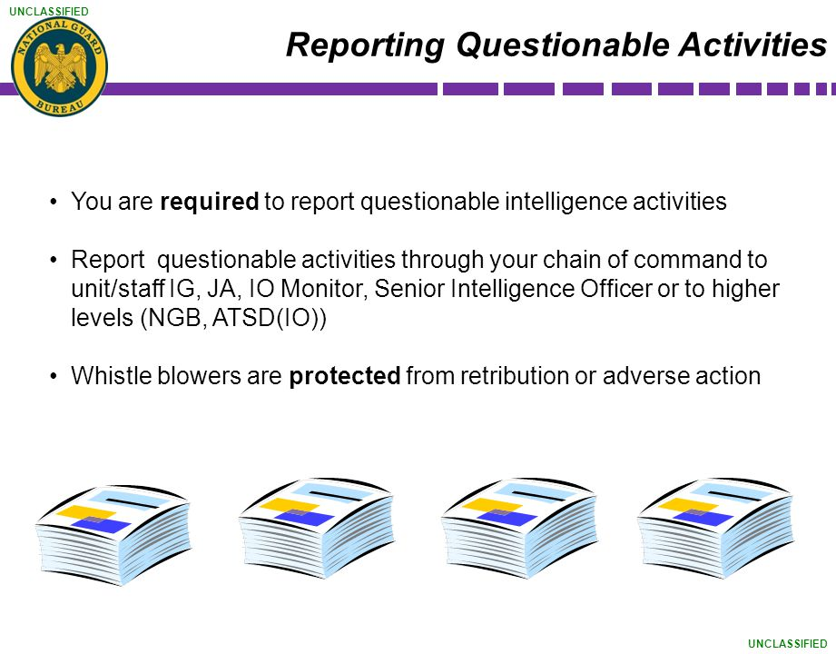UNCLASSIFIED You are required to report questionable intelligence activities Report questionable activities through your chain of command to unit/staf