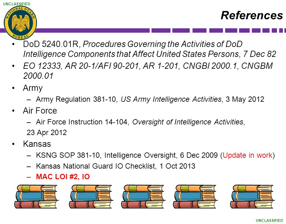 UNCLASSIFIED References DoD 5240.01R, Procedures Governing the Activities of DoD Intelligence Components that Affect United States Persons, 7 Dec 82 E