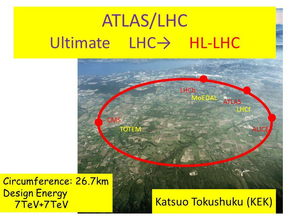 ATLAS LHCb CMS ALICE LHCf TOTEM MoEDAL Circumference: 26.7km Design Energy 7TeV+7TeV ATLAS/LHC Ultimate LHC→ HL-LHC Katsuo Tokushuku (KEK)