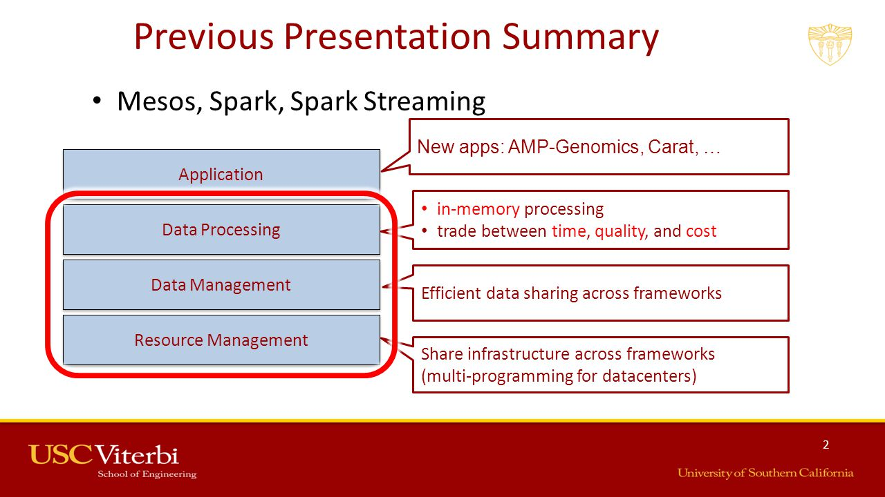 2 Previous Presentation Summary Mesos, Spark, Spark Streaming Infrastructure Storage Data Processing Application Resource Management Data Management Share infrastructure across frameworks (multi-programming for datacenters) Efficient data sharing across frameworks Data Processing in-memory processing trade between time, quality, and cost Application New apps: AMP-Genomics, Carat, …