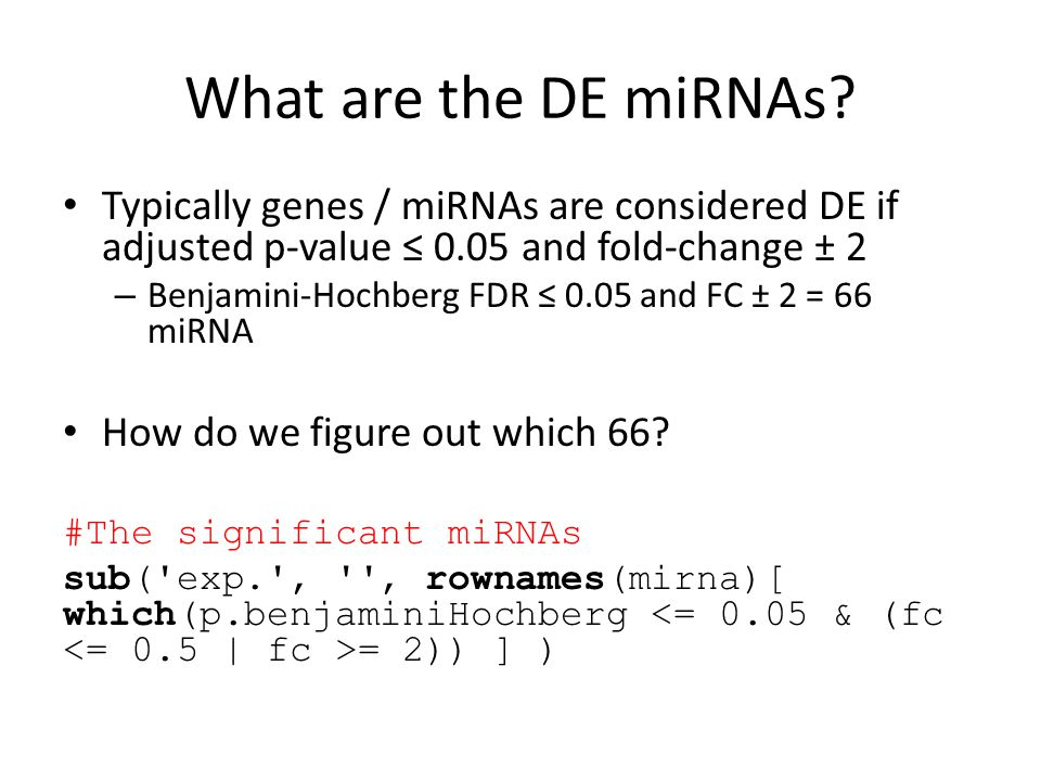 What are the DE miRNAs? Typically genes / miRNAs are considered DE if adjusted p-value ≤ 0.05 and fold-change ± 2 – Benjamini-Hochberg FDR ≤ 0.05 and
