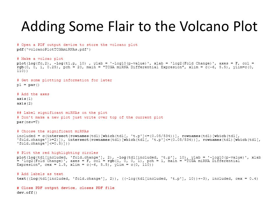 Adding Some Flair to the Volcano Plot # Open a PDF output device to store the volcano plot pdf('volcanoPlotTCGAmiRNAs.pdf') # Make a volcao plot plot(