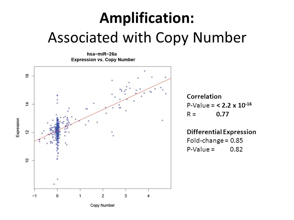 Amplification: Associated with Copy Number Correlation P-Value = < 2.2 x 10 -16 R = 0.77 Differential Expression Fold-change = 0.85 P-Value = 0.82