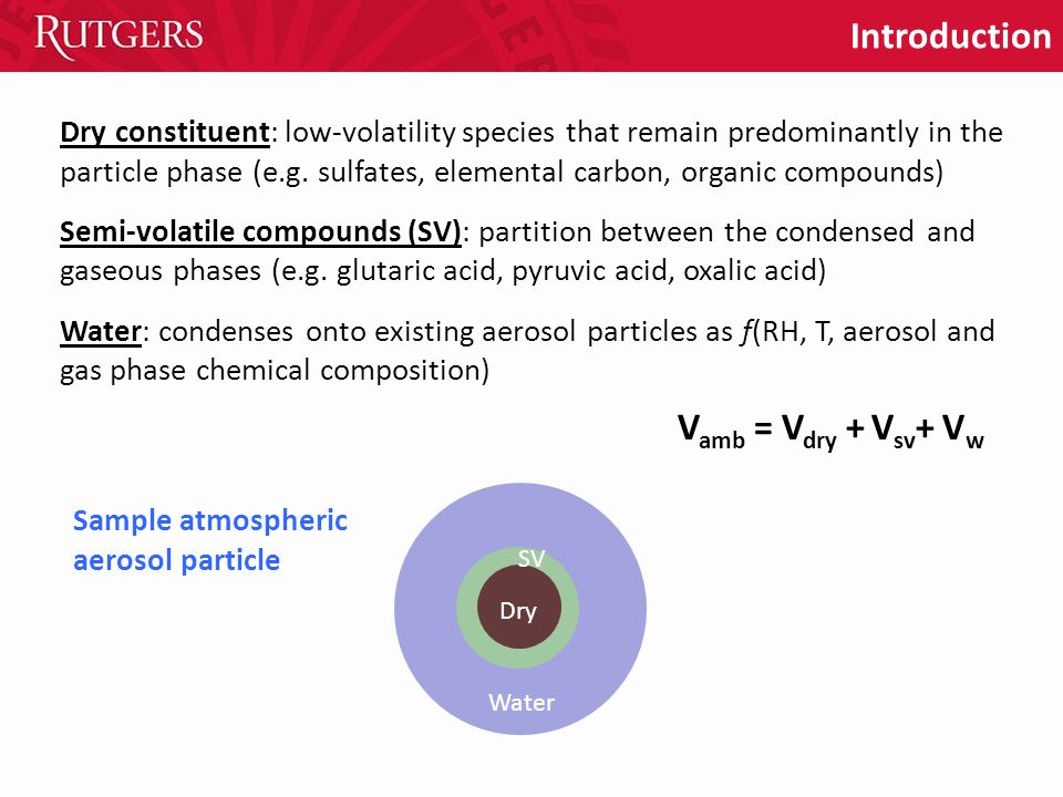 Introduction Dry constituent: low-volatility species that remain predominantly in the particle phase (e.g.