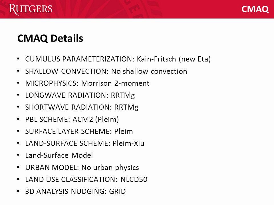 CMAQ CUMULUS PARAMETERIZATION: Kain-Fritsch (new Eta) SHALLOW CONVECTION: No shallow convection MICROPHYSICS: Morrison 2-moment LONGWAVE RADIATION: RR