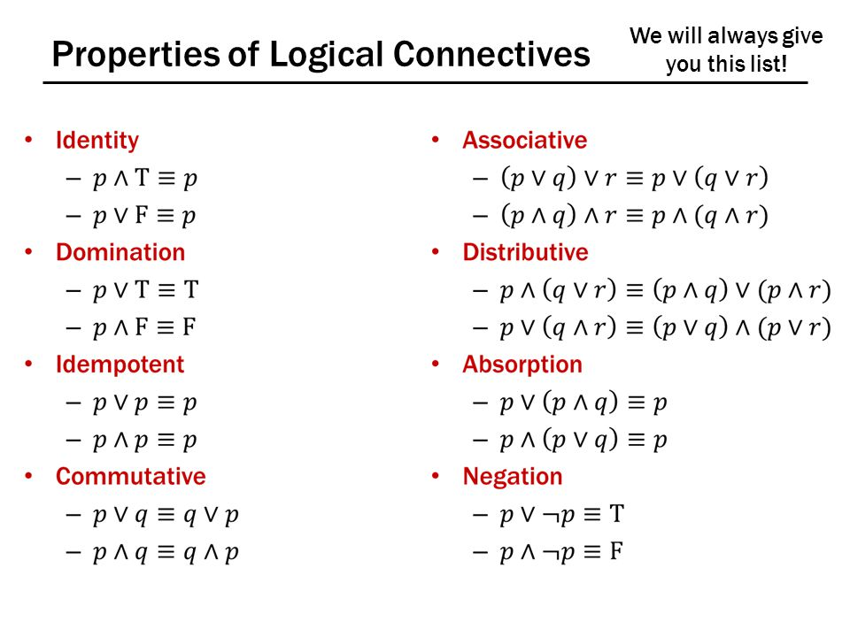 Properties of Logical Connectives We will always give you this list!