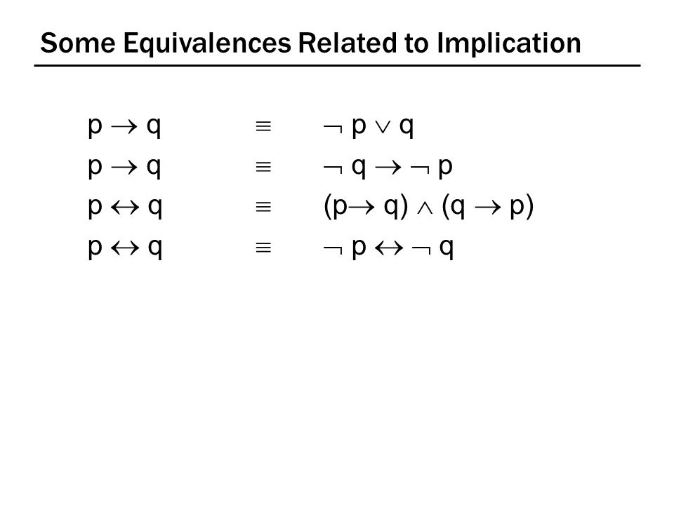 Some Equivalences Related to Implication p  q   p  q p  q   q   p p  q  (p  q)  (q  p) p  q   p   q