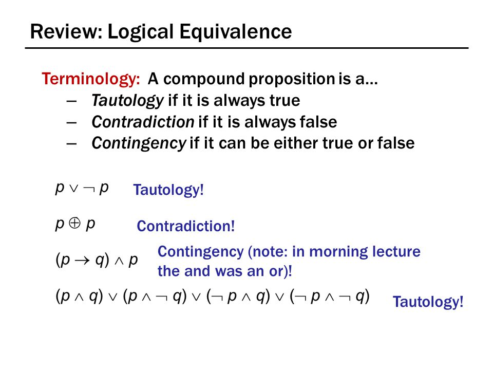 Review: Logical Equivalence Terminology: A compound proposition is a… – Tautology if it is always true – Contradiction if it is always false – Contingency if it can be either true or false p   p p  p (p  q)  p (p  q)  (p   q)  (  p  q)  (  p   q) Tautology.