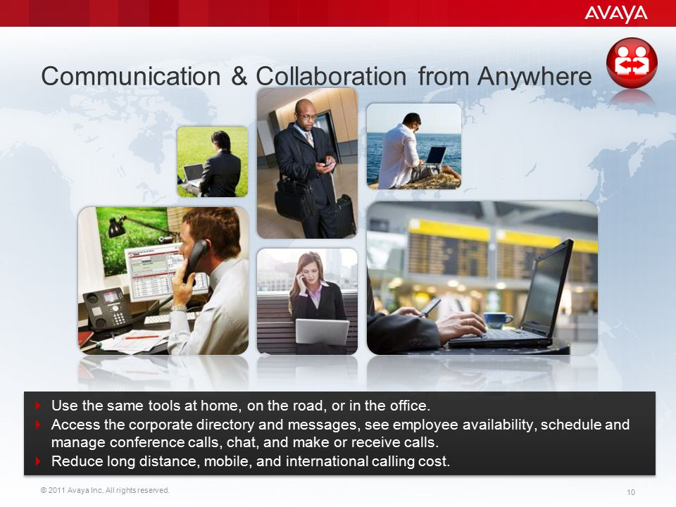 © 2011 Avaya Inc. All rights reserved. 10  Use the same tools at home, on the road, or in the office.  Access the corporate directory and messages,