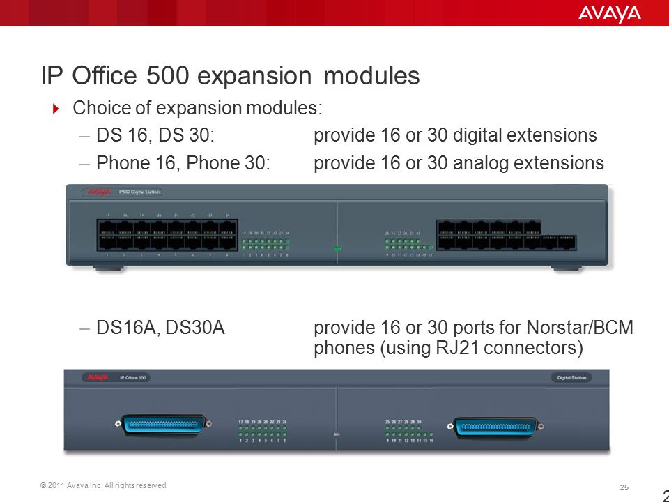 © 2011 Avaya Inc. All rights reserved. 25 IP Office 500 expansion modules  Choice of expansion modules: –DS 16, DS 30: provide 16 or 30 digital exten