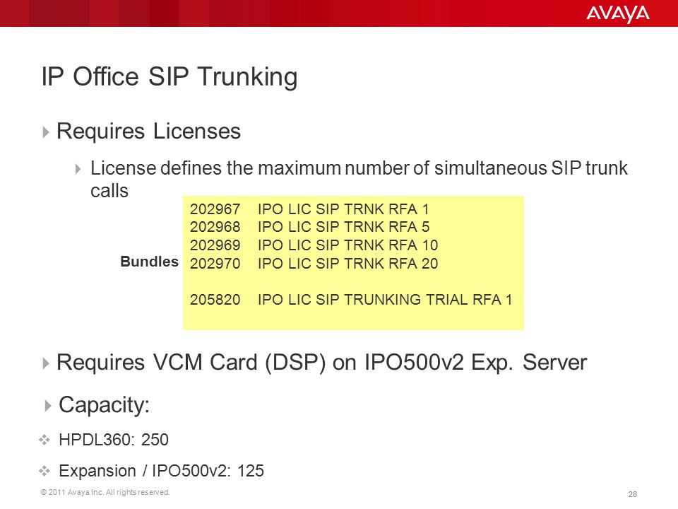 © 2011 Avaya Inc. All rights reserved. 28  Requires Licenses  License defines the maximum number of simultaneous SIP trunk calls Bundles  Requires
