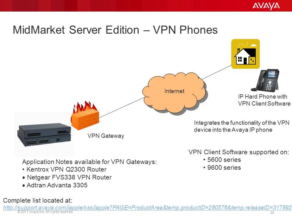 © 2011 Avaya Inc. All rights reserved. 31 MidMarket Server Edition – VPN Phones Internet VPN Gateway IP Hard Phone with VPN Client Software VPN Client