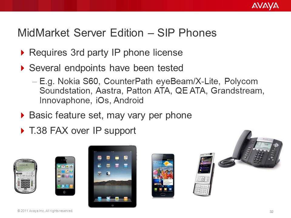 © 2011 Avaya Inc. All rights reserved. 32 MidMarket Server Edition – SIP Phones  Requires 3rd party IP phone license  Several endpoints have been te