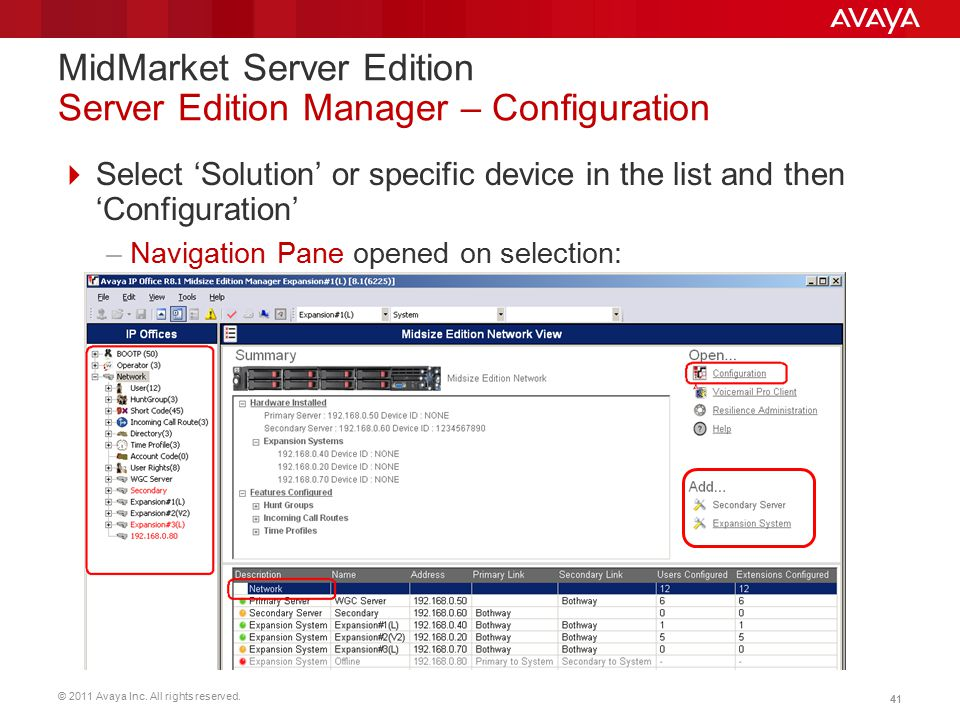 © 2011 Avaya Inc. All rights reserved. 41  Select 'Solution' or specific device in the list and then 'Configuration' –Navigation Pane opened on selec