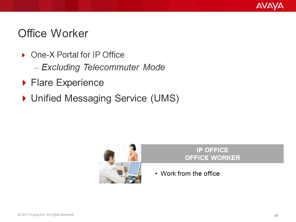 © 2011 Avaya Inc. All rights reserved. 46 Office Worker  One-X Portal for IP Office –Excluding Telecommuter Mode  Flare Experience  Unified Messagi