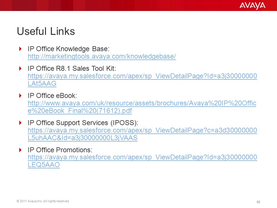 © 2011 Avaya Inc. All rights reserved. 82 Useful Links  IP Office Knowledge Base: http://marketingtools.avaya.com/knowledgebase/ http://marketingtool