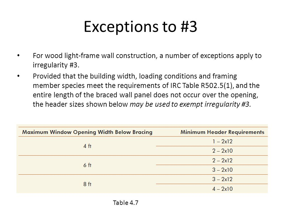 Exceptions to #3 For wood light-frame wall construction, a number of exceptions apply to irregularity #3.