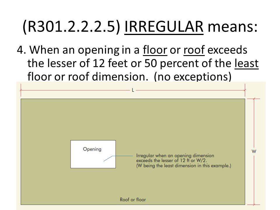 (R301.2.2.2.5) IRREGULAR means: 4.
