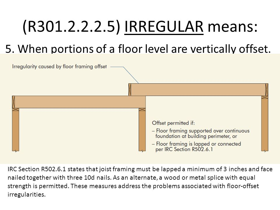 (R301.2.2.2.5) IRREGULAR means: 5.When portions of a floor level are vertically offset.