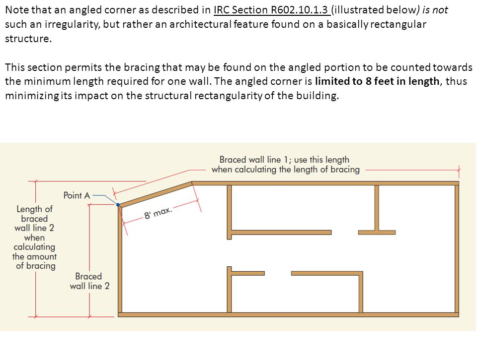Note that an angled corner as described in IRC Section R602.10.1.3 (illustrated below) is not such an irregularity, but rather an architectural feature found on a basically rectangular structure.